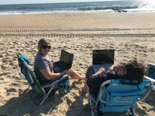 performance reviews on the beach